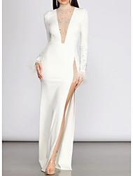 cheap -Sheath / Column V Neck Floor Length Charmeuse Sexy / White Engagement / Formal Evening Dress with Beading / Split 2020
