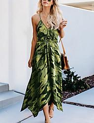 cheap -Women's Swing Dress - Print Army Green S M L XL