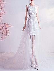 cheap -Sheath / Column Wedding Dresses V Neck Court Train Chiffon Tulle Sleeveless Sexy See-Through Illusion Detail Plus Size with Lace Insert 2020