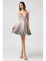 cheap -A-Line Spaghetti Strap Short / Mini Spandex Sexy / Glittering Cocktail Party / Homecoming Dress with Criss Cross 2020