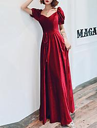 cheap -A-Line Retro Prom Formal Evening Dress Sweetheart Neckline Short Sleeve Floor Length Velvet with Sash / Ribbon 2020