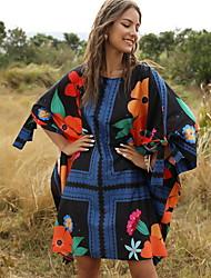 cheap -Women's Maxi Swing Dress - 3/4 Length Sleeve Geometric Loose Navy Blue One-Size