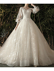 cheap -Ball Gown Wedding Dresses V Neck Watteau Train Lace Tulle 3/4 Length Sleeve Formal Elegant with Lace Lace Insert 2020