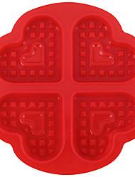 Недорогие -1 шт. Силикон 4 с форме сердца вафельный торт противень diy