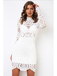 cheap -Women's White Dress Sheath Solid Color S M Slim