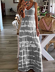 cheap -Women's Strap Dress Maxi long Dress - Sleeveless Tie Dye Summer Casual Vacation Beach Wine Blue Purple Blushing Pink Khaki Gray Light Blue S M L XL XXL XXXL XXXXL XXXXXL