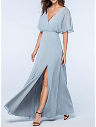 cheap -A-Line V Neck Floor Length Chiffon Elegant / Blue Wedding Guest / Prom Dress with Split 2020