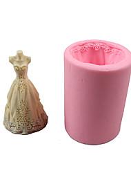 Недорогие -1шт помадка торт шоколад силиконовые формы свадебное платье diy выпечки кондитерских изделий инструмент