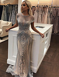 cheap -A-Line Luxurious Grey Engagement Formal Evening Dress Jewel Neck Sleeveless Sweep / Brush Train Tulle with Crystals Beading 2020