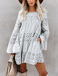 cheap -Women's Shift Dress - Long Sleeve Solid Color Holiday Vacation Beach Loose White Yellow Blushing Pink Gray S M L XL / Lace