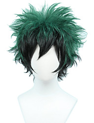 cheap -Synthetic Wig Loose Curl Halloween Asymmetrical Wig Short Black / Green Synthetic Hair 8 inch Men's Best Quality Fluffy Green