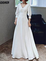 cheap -A-Line White Retro Prom Formal Evening Dress V Neck 3/4 Length Sleeve Floor Length Spandex with Buttons 2020