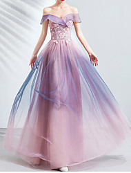 cheap -A-Line Strapless Floor Length Lace / Tulle Bridesmaid Dress with Appliques