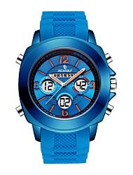 Недорогие -Мужчины Спортивные часы Японский Кварцевый Спортивные силиконовый Черный / Небесно-голубой / Цвет клевера 30 m будильник ЖК экран Хронометр Аналого-цифровые На каждый день Мода -  / Один год