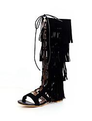 cheap -Women's Boots Flat Heel Open Toe Tassel Microfiber Knee High Boots Casual / Preppy Spring & Summer Black / Brown