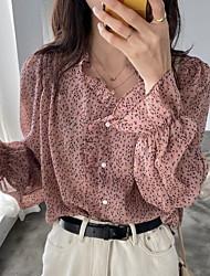 cheap -Women's Polka Dot Shirt Daily V Neck Blushing Pink / Beige