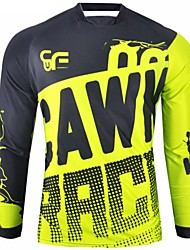 cheap -CAWANFLY Men's Long Sleeve Cycling Jersey Downhill Jersey Dirt Bike Jersey Winter Polyester Black Patchwork Novelty Bike Jersey Top Mountain Bike MTB Breathable Quick Dry Sweat-wicking Sports