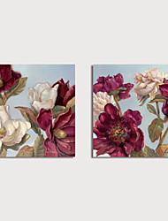 cheap -Print  Canvas Painting Still Life Flowers set of 2 pcs Modern Art Prints Stretched