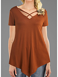 cheap -Women's Daily T-shirt - Solid Colored Brown