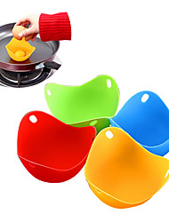 cheap -4pcs/set Silicone Egg Poacher Poaching Pods Egg Mold Bowl Rings Cooker Boiler Kitchen Cooking Accessories Pancake Maker