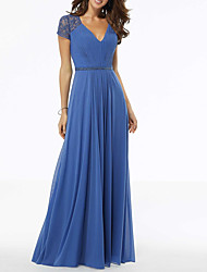 cheap -A-Line V Neck Floor Length Polyester Blue / Grey Wedding Guest / Formal Evening Dress with Pleats / Beading 2020