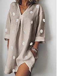 cheap -Women's Blushing Pink Khaki Dress A Line Polka Dot V Neck S M Loose / Cotton