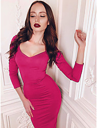 cheap -Women's Going out Sexy Bodycon Dress - Solid Color Basic Black Fuchsia S M L