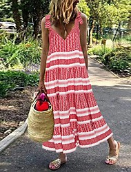 cheap -Women's Maxi Red Dress Loose Striped Strap S M Loose