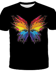 cheap -Men's Daily Holiday Street chic / Exaggerated T-shirt - 3D / Tie Dye / Animal Print Black