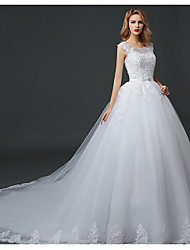 cheap -Ball Gown Scoop Neck Court Train Polyester / Lace / Tulle Short Sleeve Romantic Wedding Dresses with Lace / Beading 2020