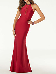 cheap -Mermaid / Trumpet Sexy Engagement Prom Dress Halter Neck Sleeveless Floor Length Satin with Beading 2020