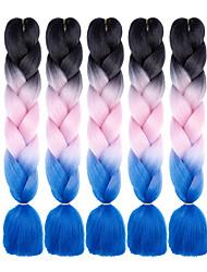 Недорогие -Прямой Спиральные плетенки Крупные косы Синтетические экстензии Искусственные волосы 100% волосы канекалона косы 24inch Волосы для кос 5 ед. Жаропрочная Волосы с окрашиванием омбре
