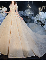 cheap -Ball Gown Wedding Dresses Off Shoulder Watteau Train Lace Short Sleeve Formal Wedding Dress in Color with Lace Insert 2020