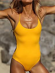 cheap -Women's Beach Girl Vintage 1980s Bikini Peplum Swimsuit Monokini Spandex Tactel Solid Colored Black Yellow Leotard / Onesie