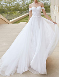 cheap -A-Line Wedding Dresses Off Shoulder Court Train Tulle Short Sleeve Formal Plus Size with Draping Lace Insert 2020