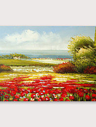 cheap -IARTS®Hand Painted Beautiful red field Oil Painting   with Stretched Frame For Home Decoration