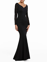 cheap -Mermaid / Trumpet V Neck Sweep / Brush Train Polyester Sexy / Black Engagement / Formal Evening Dress with Beading 2020