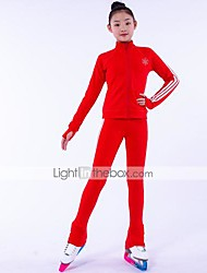 cheap -Over The Boot Figure Skating Tights Figure Skating Fleece Jacket Girls' Ice Skating Top Bottoms Red Fleece Spandex High Elasticity Training Competition Skating Wear Crystal / Rhinestone Long Sleeve