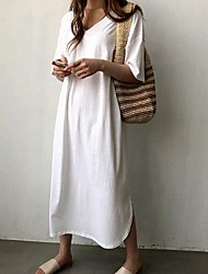 cheap -Women's Loose Dress - Solid Color White Black One-Size