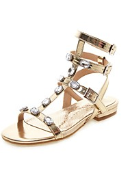 cheap -Women's Sandals Spring & Summer Block Heel Open Toe Casual Preppy Daily Sparkling Glitter Solid Colored PU Gold / Silver