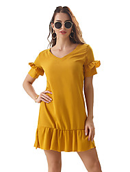 cheap -Women's Wine Yellow Dress Casual Cute Going out Shift Solid Color Petal Sleeve V Neck Ruffle S M