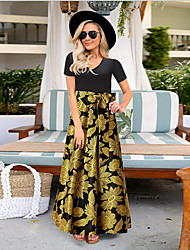 cheap -Women's Beach Maxi A Line Dress - Floral Print Floral V Neck Spring Red Green Black S M L XL