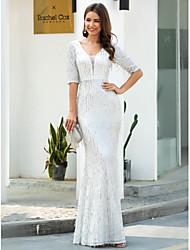 cheap -Sheath / Column V Neck Floor Length Polyester Glittering / White Engagement / Formal Evening Dress with Sequin / Tassel 2020 / Illusion Sleeve