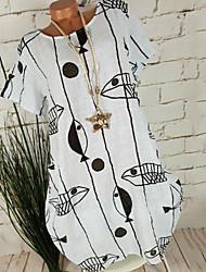 cheap -Women's Blue White Dress Loose Striped M L