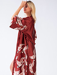 cheap -Women's Lace up Print Robes Satin & Silk Nightwear - Silk Floral Solid Colored Wine / Black / Blushing Pink M L XL / Deep V