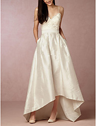 cheap -A-Line V Neck Asymmetrical Satin Sleeveless Formal Little White Dress Wedding Dresses with Appliques 2020