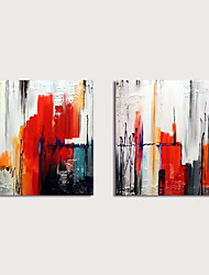 cheap -Hand Painted Canvas Oilpainting Abstract Set of 2 Home Decoration with Frame Painting Ready to Hang