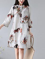 cheap -Women's White Dress A Line Geometric M L Loose