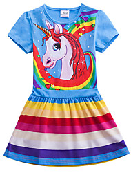 cheap -Kids Girls' Sweet Cute Unicorn Color Block Rainbow Cartoon Print Short Sleeve Knee-length Dress Fuchsia