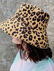 cheap -Women's Active Basic Cute Cotton Sun Hat-Leopard Color Block Solid Colored Spring Summer Black White Dusty Rose